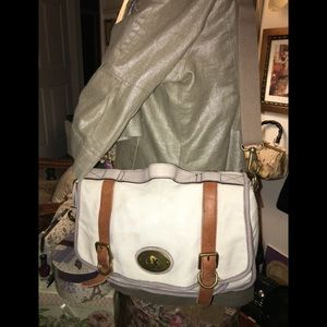 Fossil cream canvas messager bag